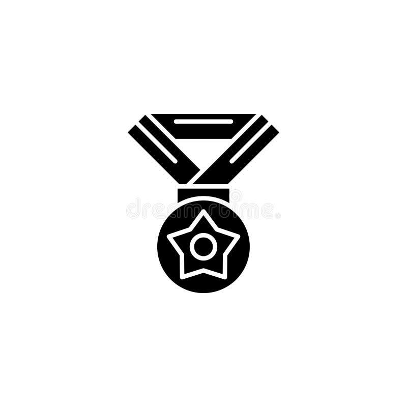 Medaille met concept van het ster het zwarte pictogram Medaille met ster vlak vectorsymbool, teken, illustratie stock illustratie