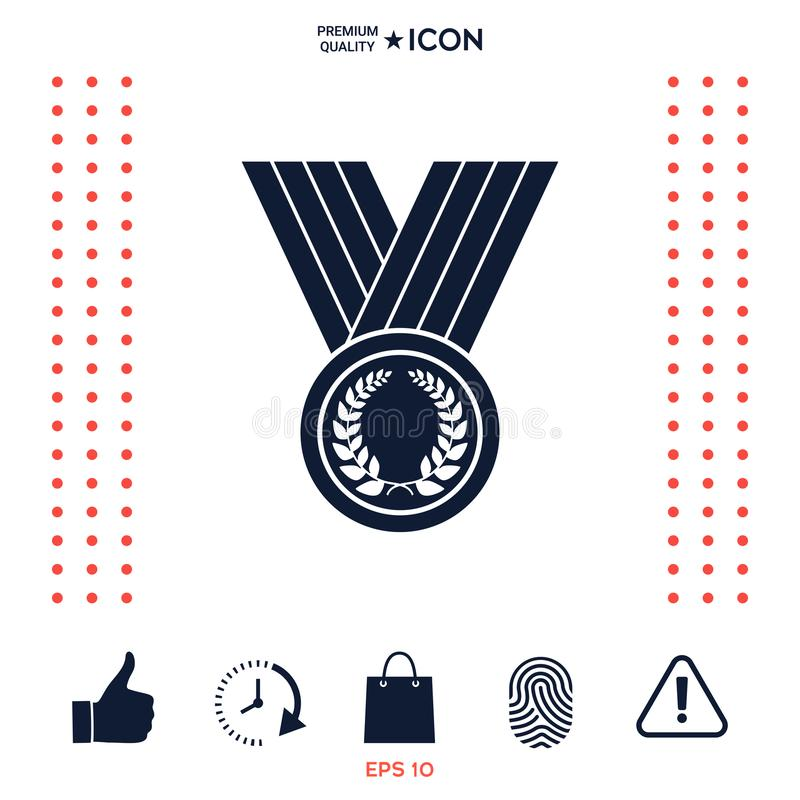 Medaille met Lauwerkrans, pictogram royalty-vrije illustratie