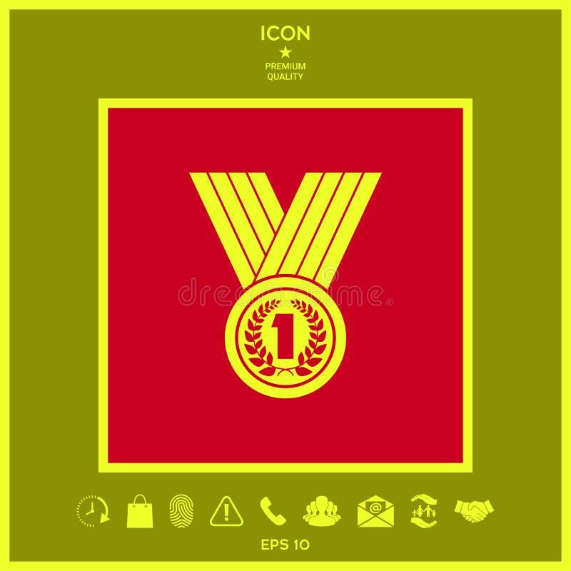 Medaille met Lauwerkrans pictogram stock illustratie