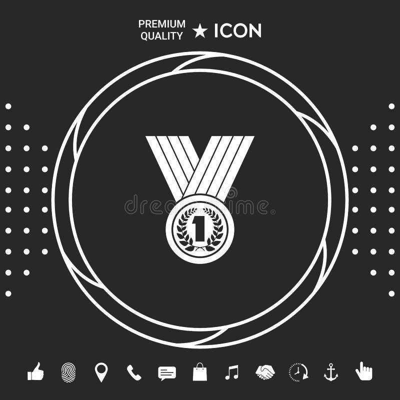 Medaille met Lauwerkrans pictogram Grafische elementen voor uw designt royalty-vrije illustratie