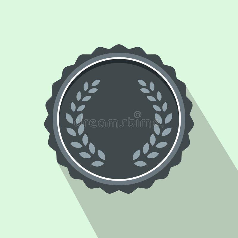 Medaille met lauwerkranspictogram, vlakke stijl stock illustratie