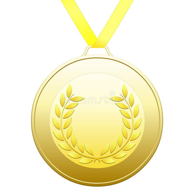 Medaille mit Goldlorbeer winden auf einem weißen Hintergrund lizenzfreie abbildung