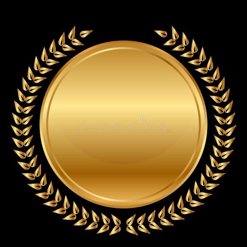Medaille und Lorbeer auf schwarzem Hintergrund lizenzfreie abbildung