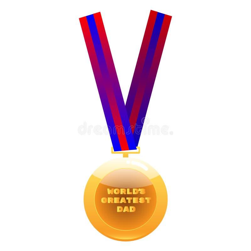 Medaille van de wereld de grootste papa op kleurrijk lint stock illustratie