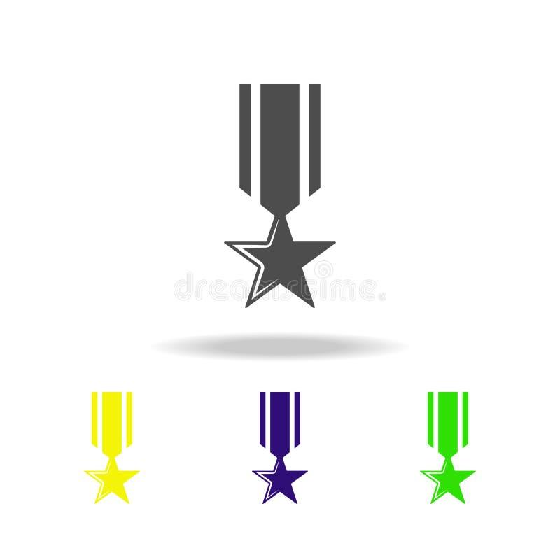 medaille, wapen gekleurde pictogrammen Element van militaire illustratie De tekens en de symbolen kunnen voor Web, embleem, mobie vector illustratie