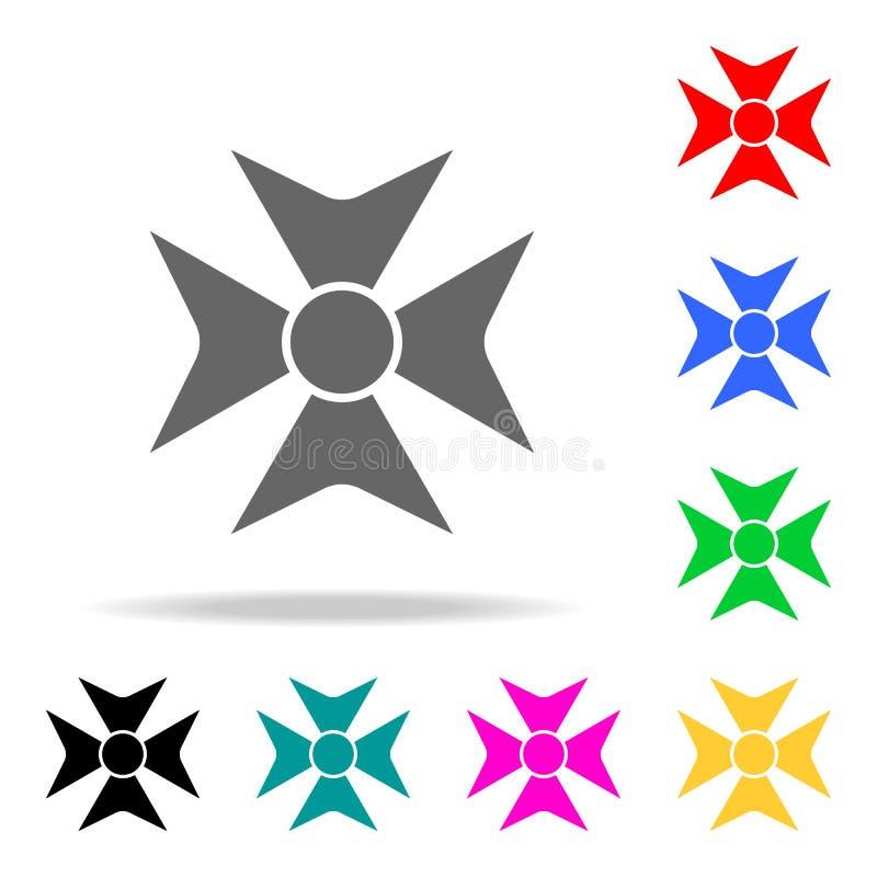 Medaillen-Preis-Kreuzikone Elemente in den multi farbigen Ikonen für bewegliche Konzept und Netz apps Ikonen für Websitedesign un stock abbildung