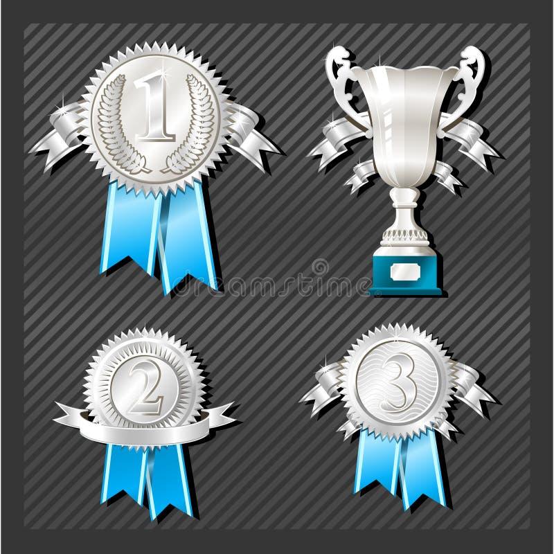Medaillen und Cup lizenzfreie abbildung