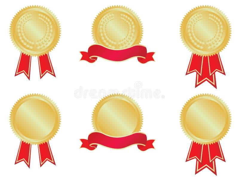 Medaillen und Fahnen lizenzfreie abbildung