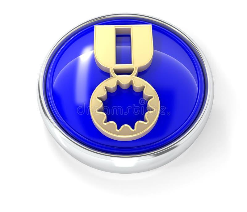 Medaillenikone auf glattem blauem rundem Knopf stock abbildung