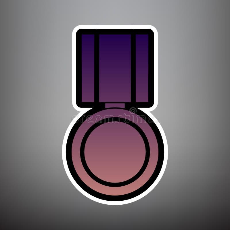 Medaillenzeichenillustration Vektor Violette Steigungsikone mit Schwarzem stock abbildung