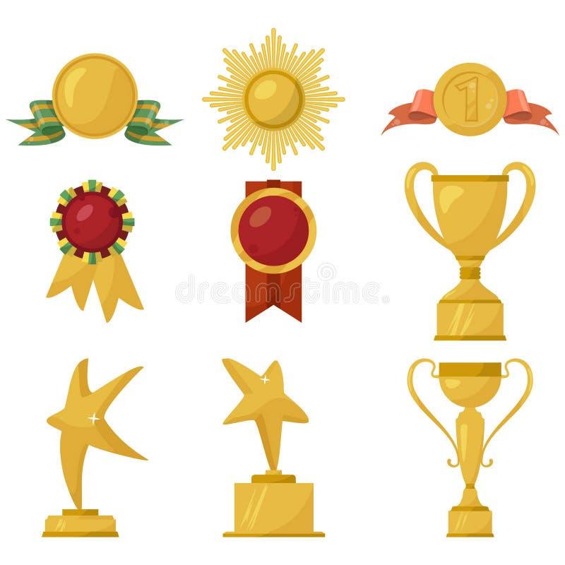 Medailles en gouden koppeninzameling stock illustratie