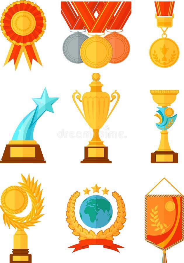 Medailles en koppenvoorwerpen in vlakke stijl vector illustratie