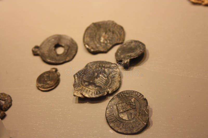 Medailles en oude muntstukken van vijftien honderd royalty-vrije stock foto's