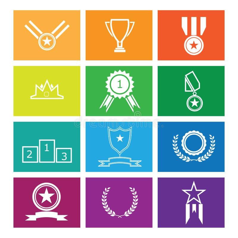 Medailles en trofeetoekenning voor winnaar vector illustratie