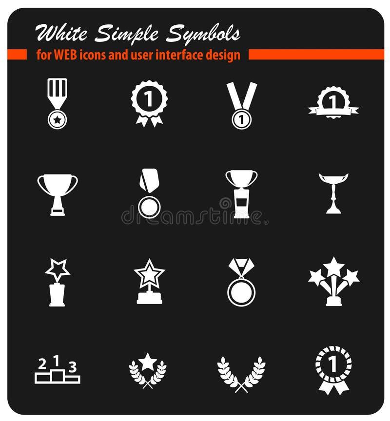 Medailles en tropheys eenvoudig pictogrammen vector illustratie
