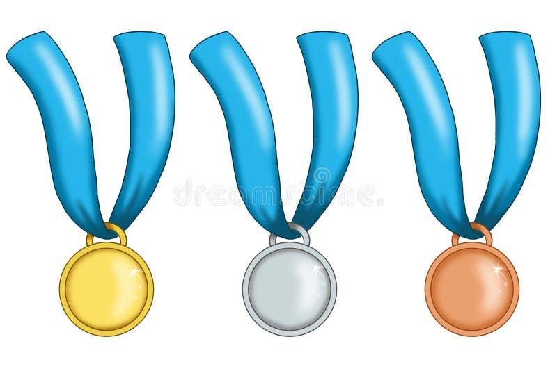 Medailles met blauw lint stock illustratie