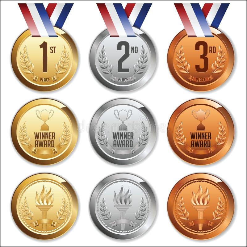 Medailles met lint Reeks goud, zilver en bronsmedailles stock illustratie