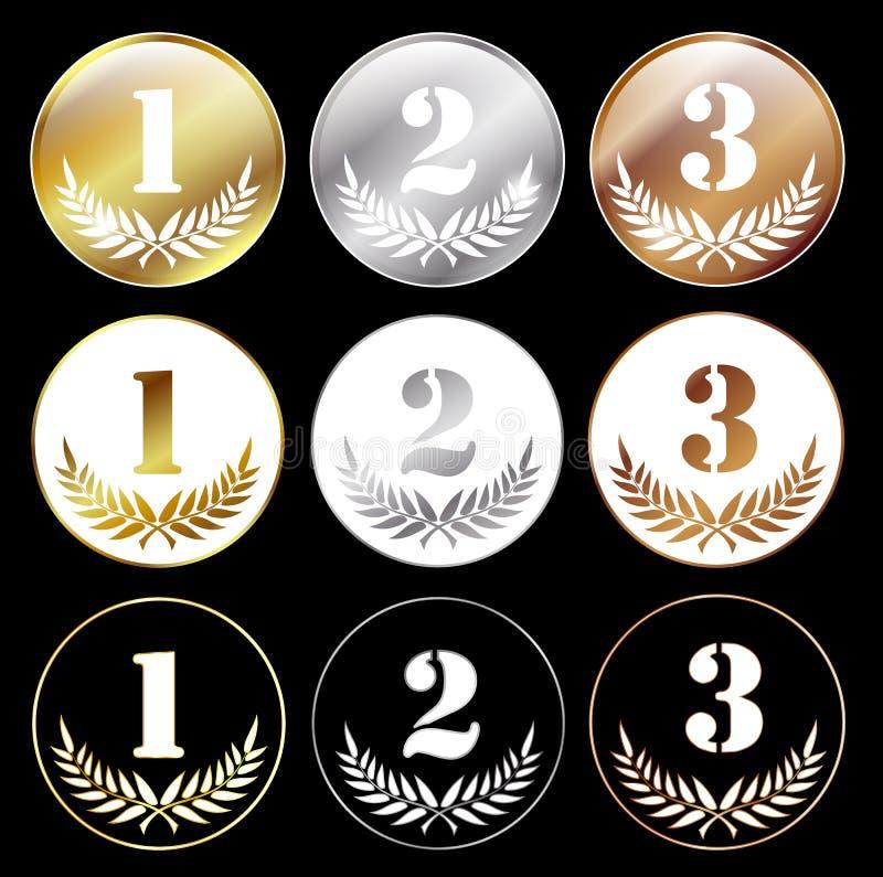 Medailles met nummer 1, 2 en 3 stock illustratie