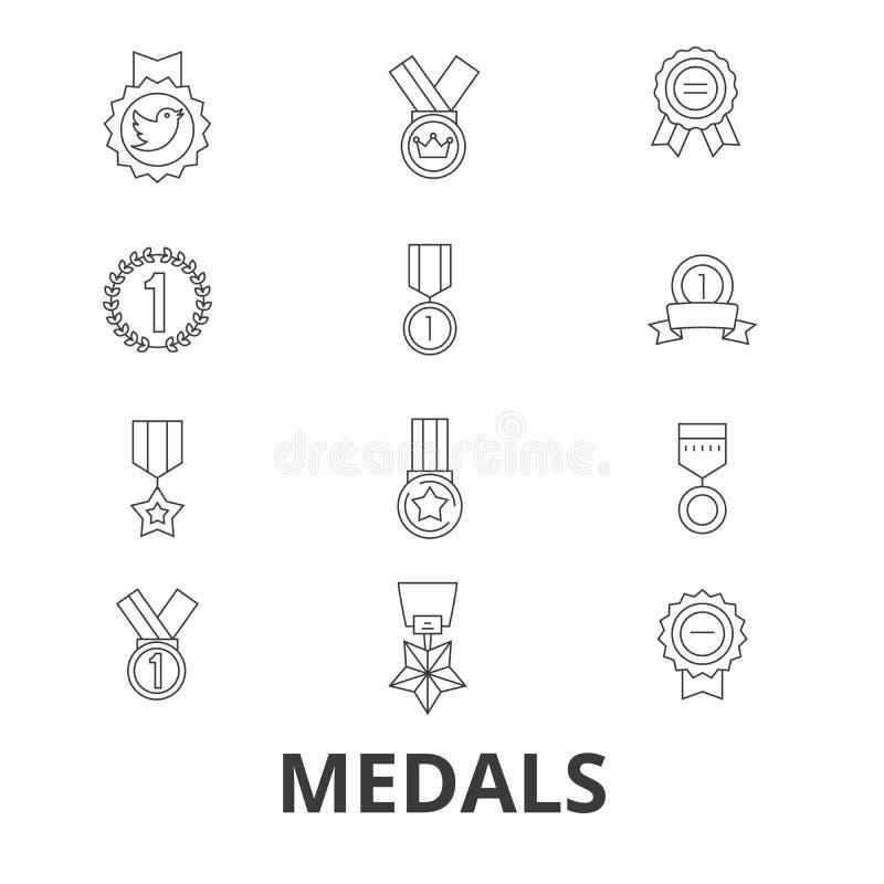 Medailles, trofee, gouden medaille, toekenning, medaillon, olympische medaille, winnaar, de pictogrammen van de kentekenlijn Edit stock illustratie