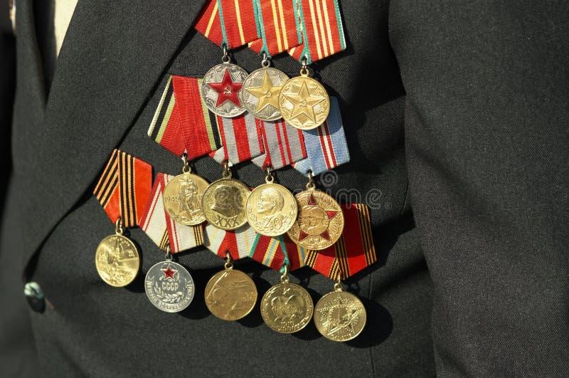 Medailles van de oorlogsveteraan stock afbeeldingen