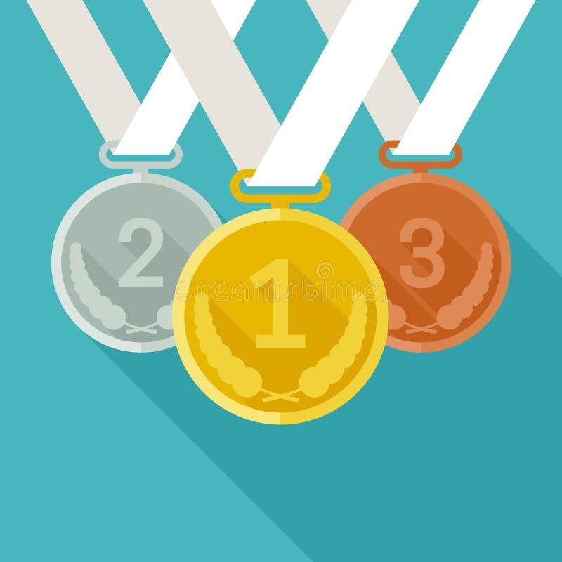 Medailles van goud, zilver en brons vector illustratie