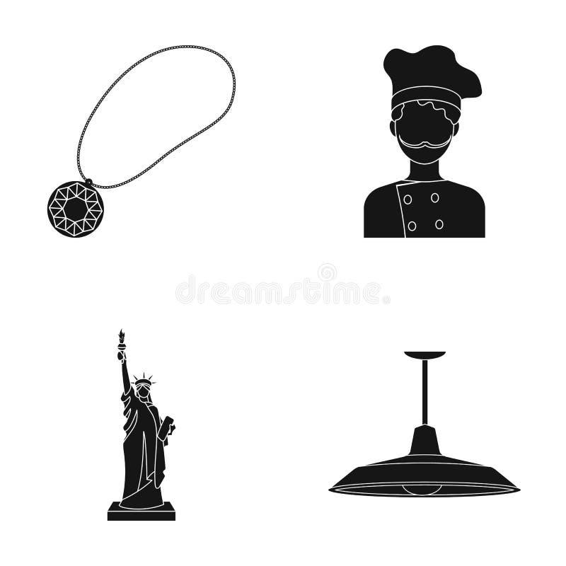 Medaillon, Chef und andere Netzikone in der schwarzen Art Freiheitsstatue, Leuchterikonen in der Satzsammlung vektor abbildung