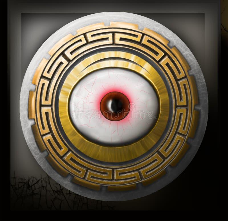Medaillon mit dem Auge in Form eines Schildes lizenzfreie stockfotos
