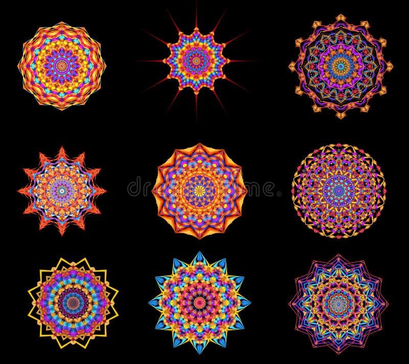 Medaillons Digital Art Collection Abstract Kaleidoscope Decorative lizenzfreie abbildung