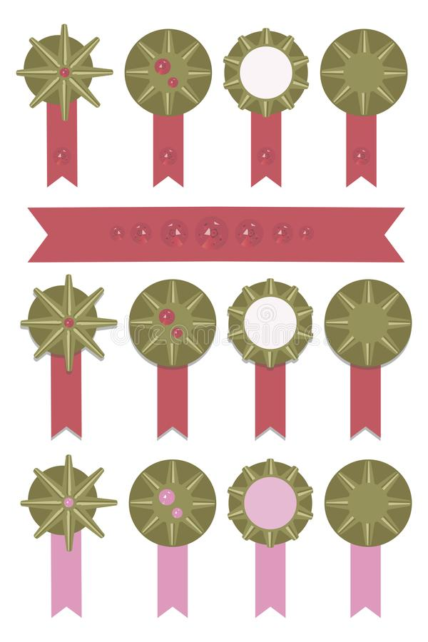 Medal bronze bright with bright red and pink ribbons shining sparkling gems Ruby pattern rating set vector isolated on white backg. Medal bronze bright with royalty free illustration