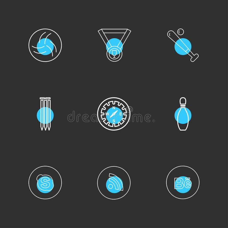 Medal , compass , skype , wifi , behance , sports , games , fitness , athletics , eps icons set vector. Medal , compass , skype , wifi , behance , sports , games stock illustration