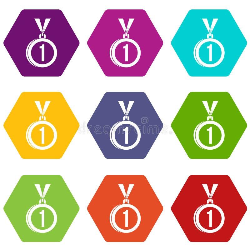 Medal dla pierwszy miejsce ikony koloru ustalonego sześcioboka ilustracji