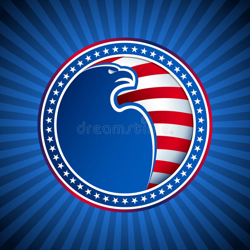 Medal Flag Eagle US America Background Head Wing. Medal from the American bald eagle, stars and stripes of the US flag on the background of blue rays; The stock illustration