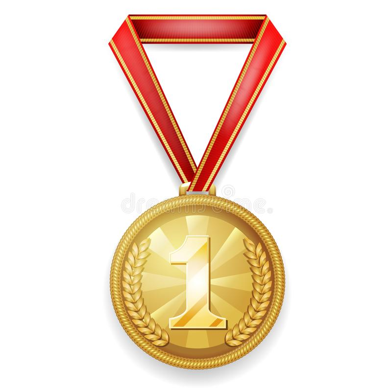 Free Medal Gold Award Sport 1st Place Red Ribbon Realistic 3d Vector Illustration Royalty Free Stock Images - 118223519