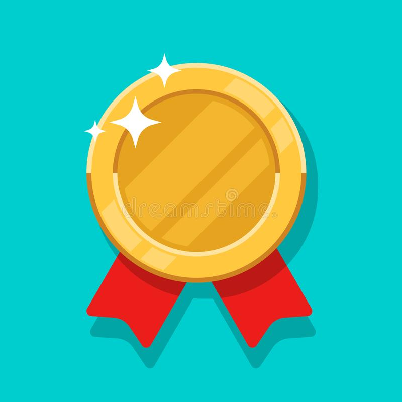 Medal gold vector icon. Flat cartoon medallion golden symbol with red ribbon isolated on blue background. vector illustration