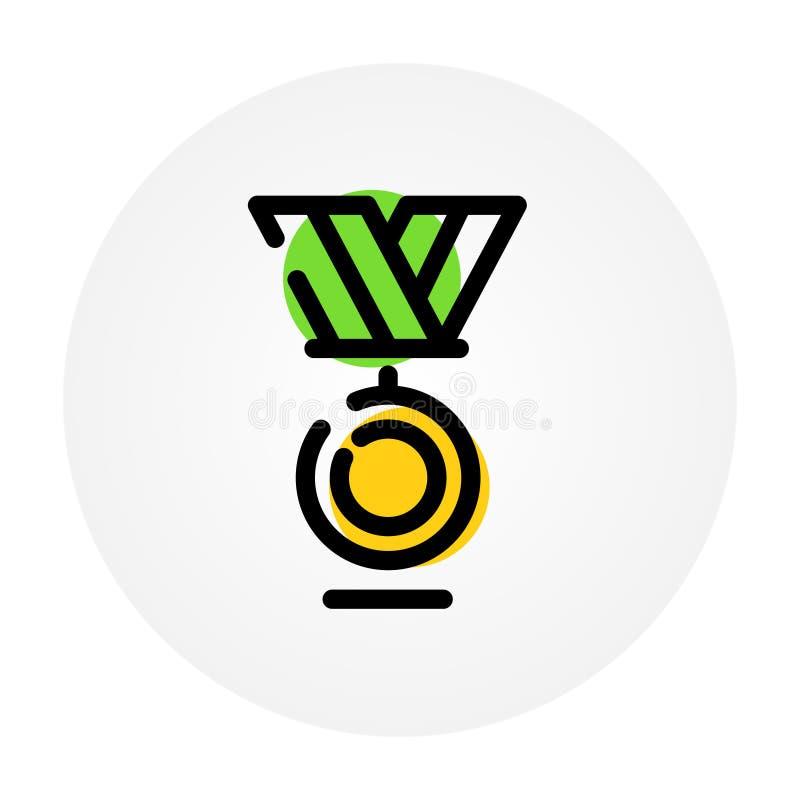 Medal honor Wygrywać w sportach i biznesie pierwsze miejsce Wektorowa ikona odizolowywająca na białym tle Mody konturowa ikona ik ilustracji