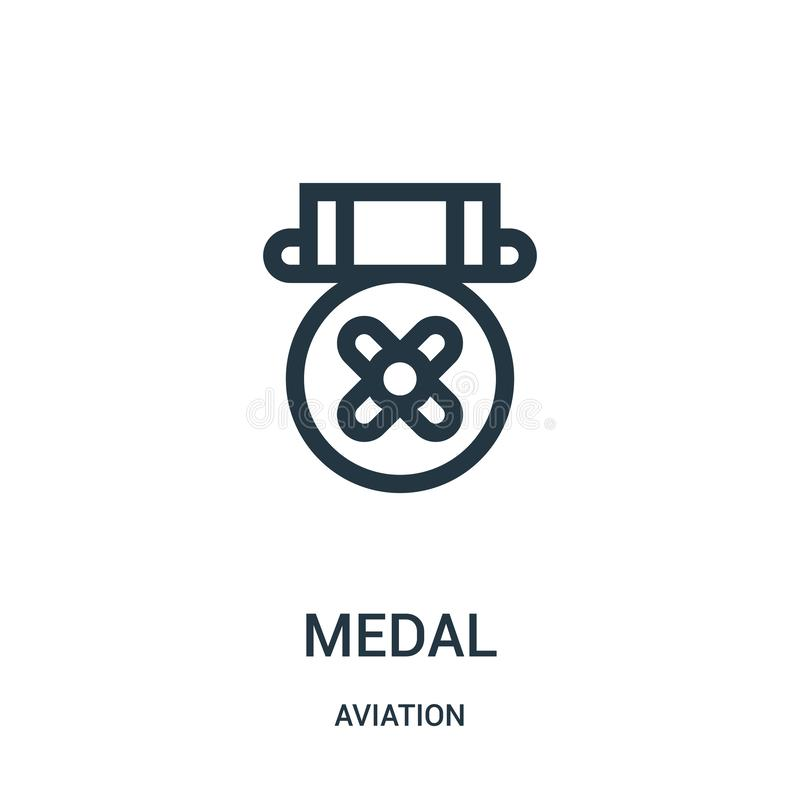Medal icon vector from aviation collection. Thin line medal outline icon vector illustration. Linear symbol for use on web and. Mobile apps, logo, print media vector illustration