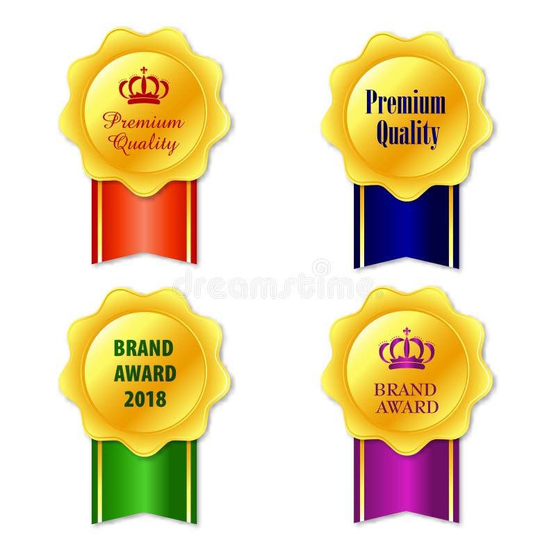 Medal ikona Elegancki złoty etykietki kolekci set Złocistej tasiemkowej nagrody ikony odosobniony biały tło ilustracja wektor