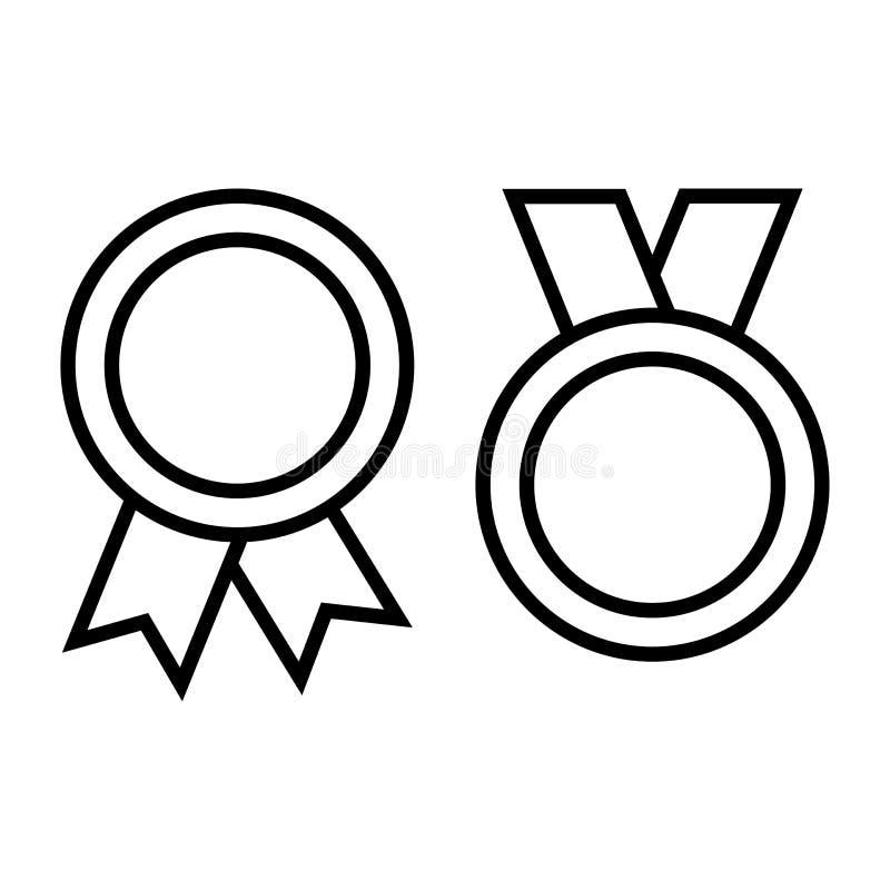 Medal ikony odizolowywać na białym tle, konturu projekt r?wnie? zwr?ci? corel ilustracji wektora ilustracja wektor