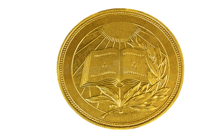 Medal with the image of the book and a laurel branch on a white background. stock photo