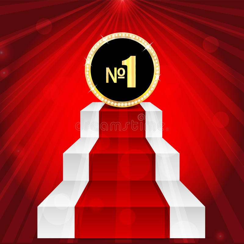 Medal with number one. Award in gold with brilliant stones.mark with the number one on the top of the stairs vector illustration