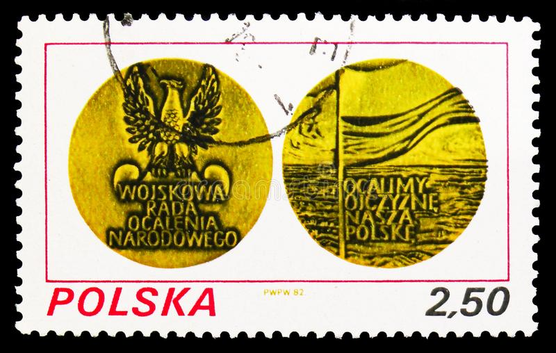 Medal obverse and reverse, First anniversary of Military Rule, serie, circa 1982 stock photo