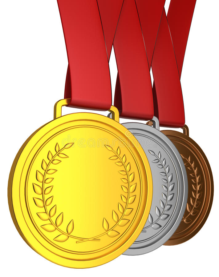 Download Medal with red ribbon stock illustration. Illustration of podium - 33986324