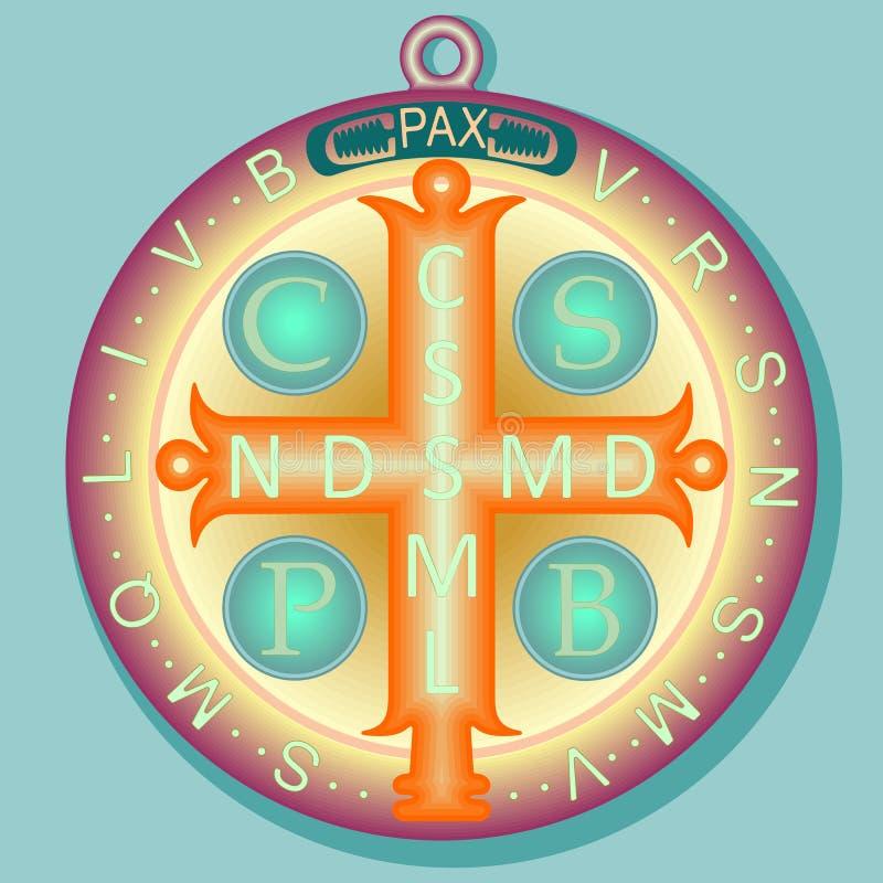 Medal St Benedykt z Przecinającymi i początkowymi listami Łacińska modlitwa ilustracji