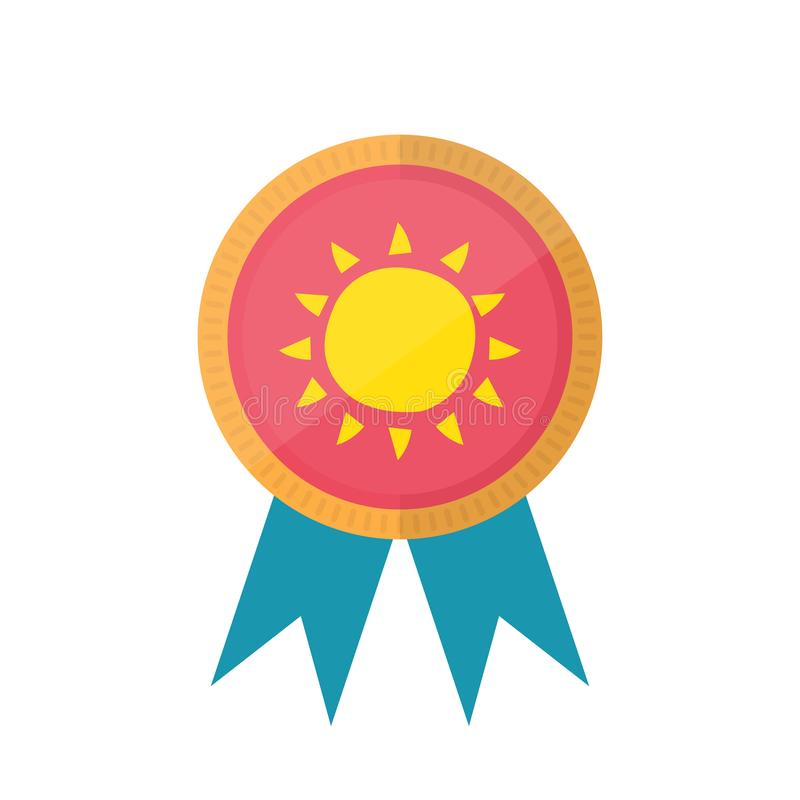 Medal with sun. Winner award icon. Isolated on white background. Flat style design royalty free illustration