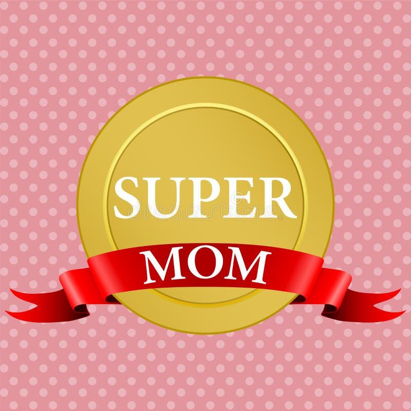 Medal super mama z czerwonym faborkiem ilustracja wektor