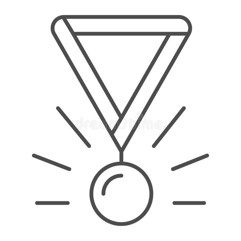 Medal thin line icon. Award vector illustration isolated on white. Winner medallion outline style design, designed for stock illustration