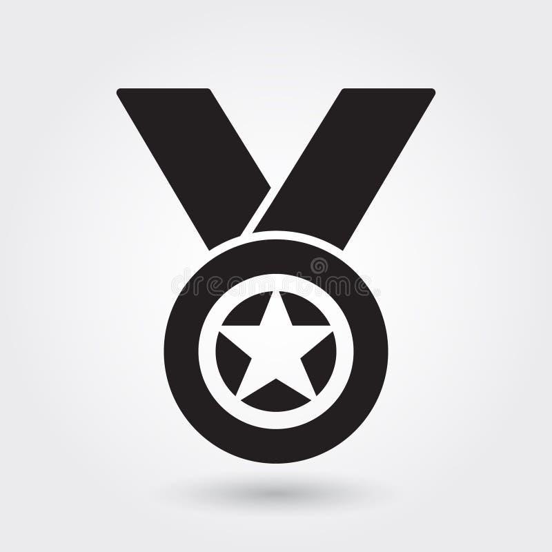 Medal wektorowa ikona, sporty nagradza ikonę, sporta zwycięzcy symbol Nowożytny, prosty glif, stała wektorowa ilustracja royalty ilustracja