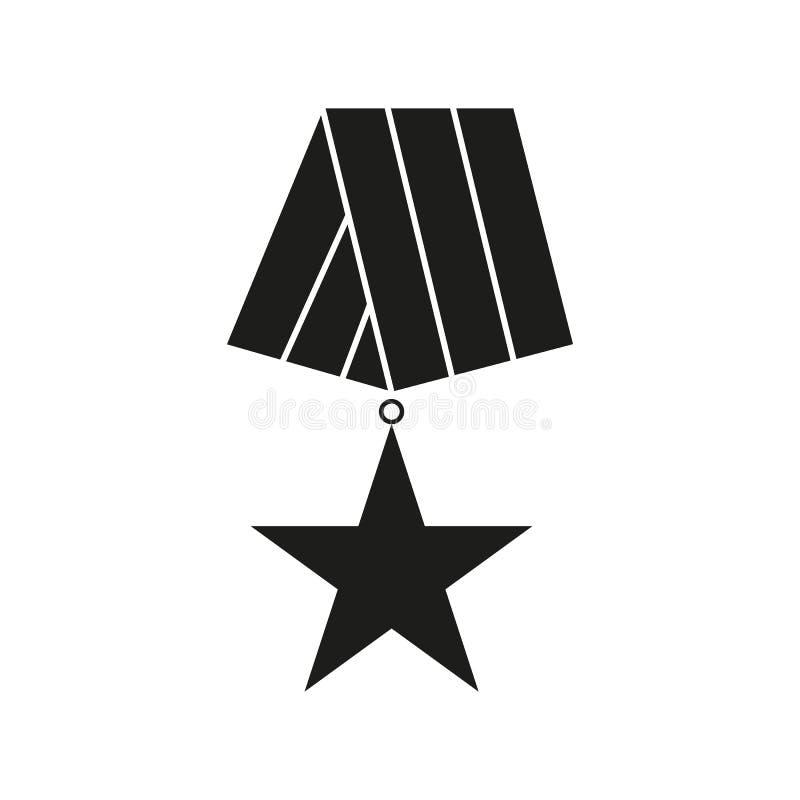 Medal weterana dnia ikony czarny kolor ilustracja wektor