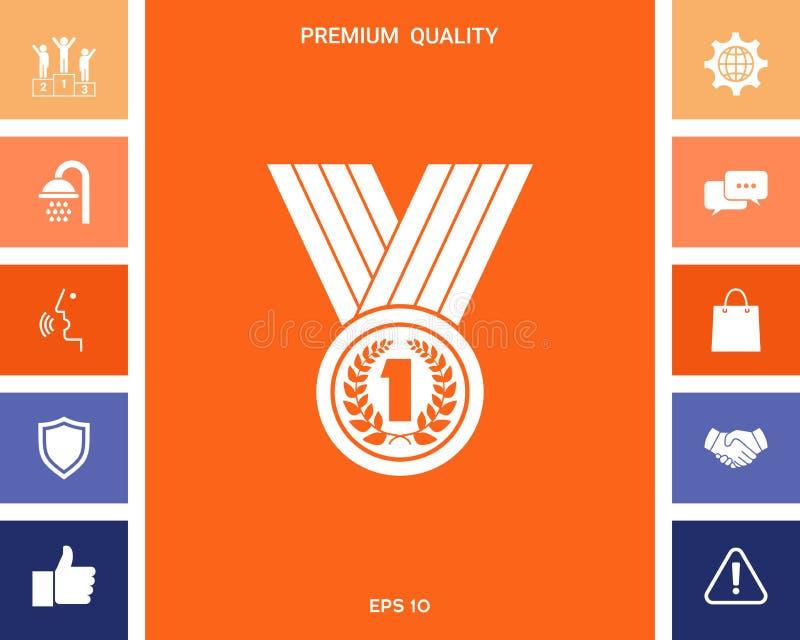 Medal z Laurowym wiankiem ikona royalty ilustracja