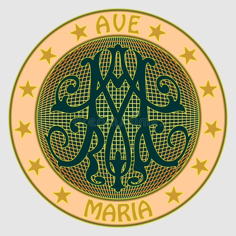 Medal z ornamentacyjnym barokowym monogramem M z inskrypcją Ave Maria, otaczający gwiazdami ilustracji